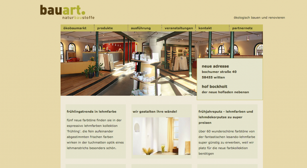 bauart.naturbaustoffe ökobaumarkt Unsere alte Webseite 2015